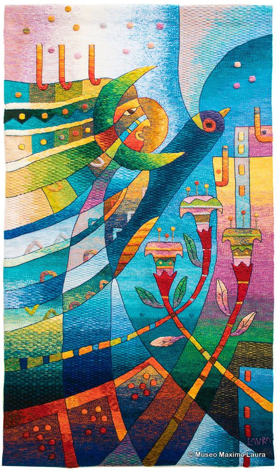 Handwoven Peruvian Tapestry, Flower for my Mother, Bird, Vertical ...