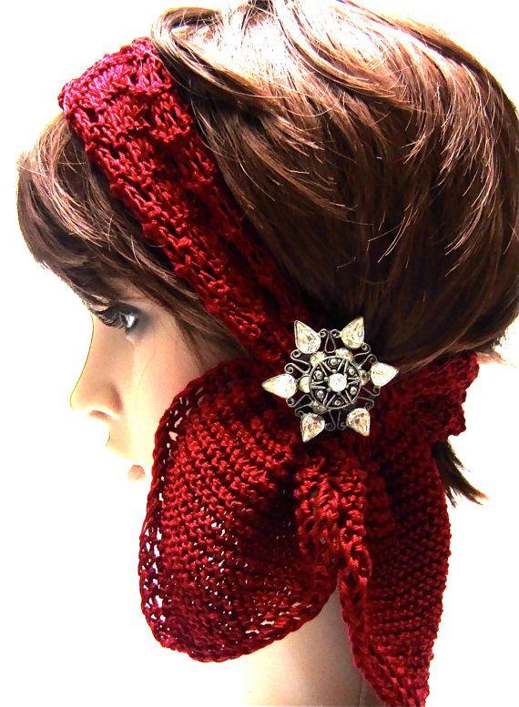 Three Option Scarf: 'Deep Crimson' Scarf Headband Head Wrap Mercerized Cotton