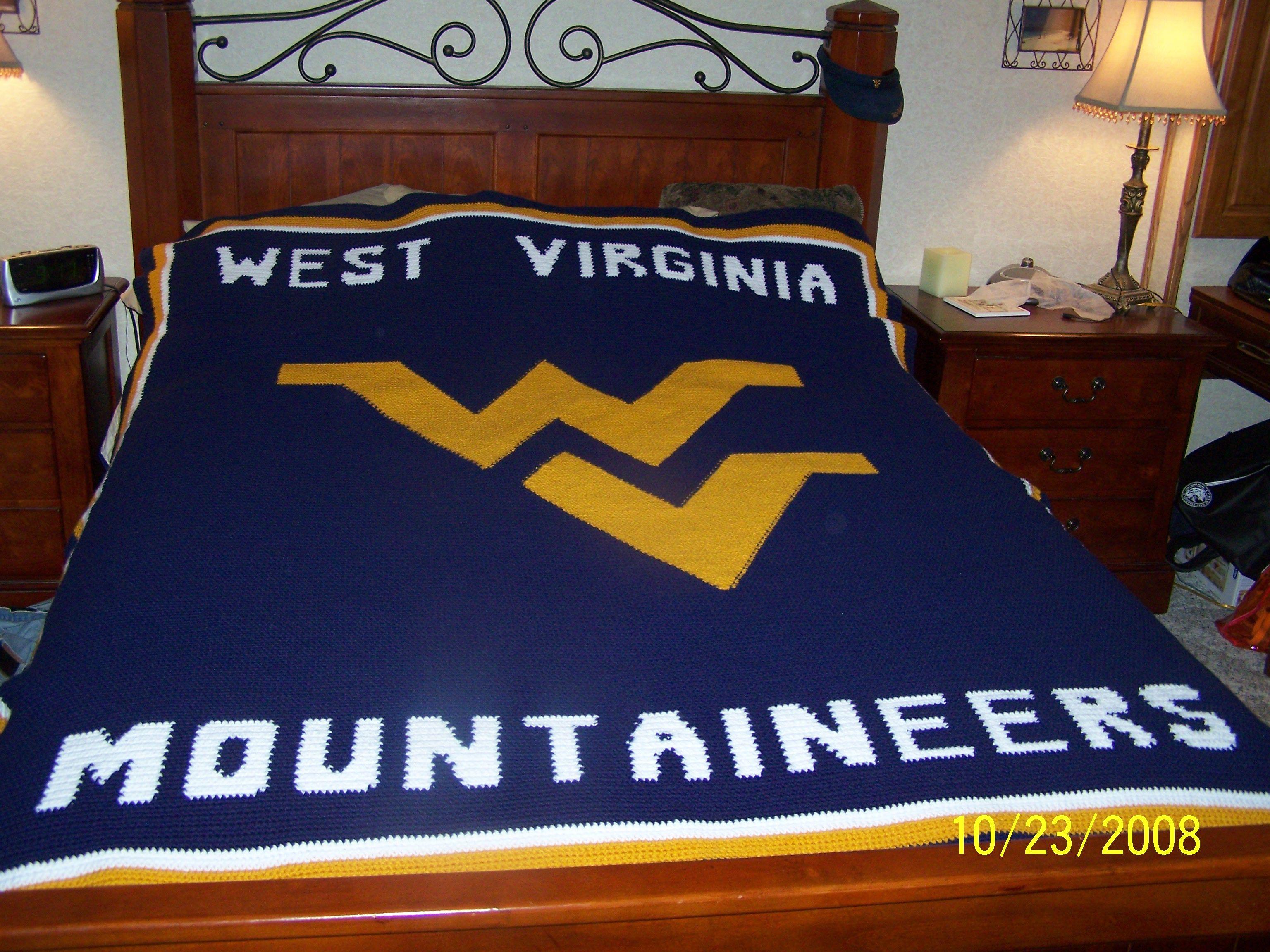 West Virginia University Wvu Blanket Go Mountaineers Crochet Patterns Crochet Afghan Crochet Projects