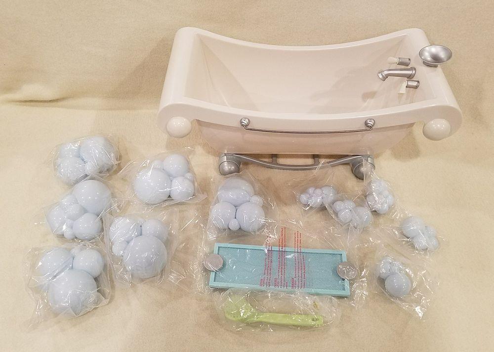 Retired American Girl Doll Bath Tub Blue Bubbles Brush Tray