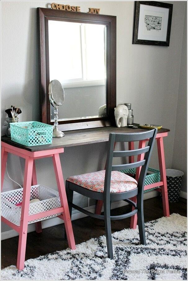 10 cool diy makeup vanity table ideas 5 ideas para el for Cheap vanity desk