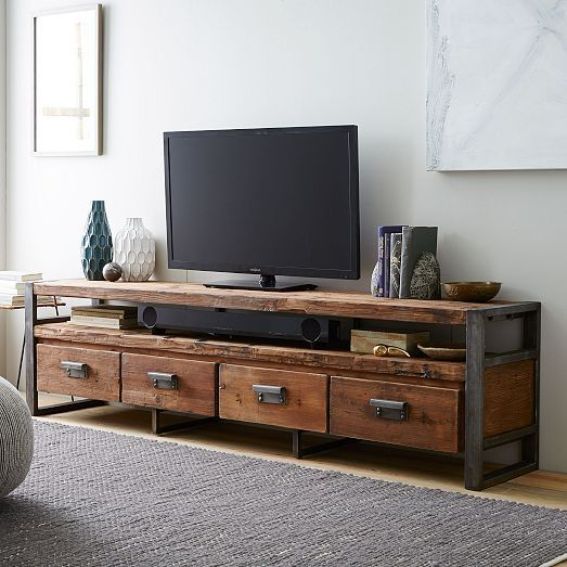 Iron Legs And Drawer Pulls Lend An Edge To The Bin Pull Media Console Which Is Crafted Of Reclaimed Pine Four Roomy Drawers Provide Plenty