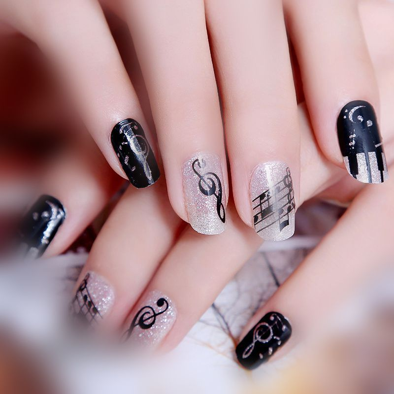Sliver musical note Desig Jamberry Nail Wrap Template Waterproof ...