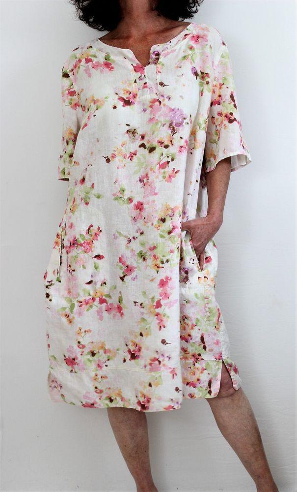 207ba04ea J Jill Love Linen 100% Linen S Sleeve Notch Neck Floral Print Dress Multi Sz  XL #JJill #Tunic