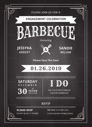 Chalkboard BBQ Invitation Template Flyer Card Templates Design Cards