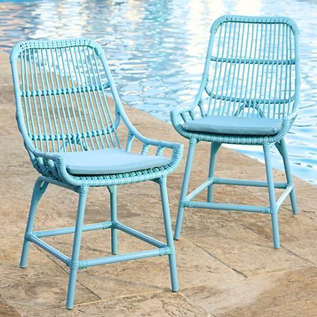 Craneu0027s Landing Blue Outdoor Dining Chairs Set Of 2   #7C118 | Www.lampsplus