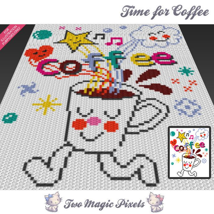 Time for Coffee c2c graph crochet pattern; instant PDF download ...