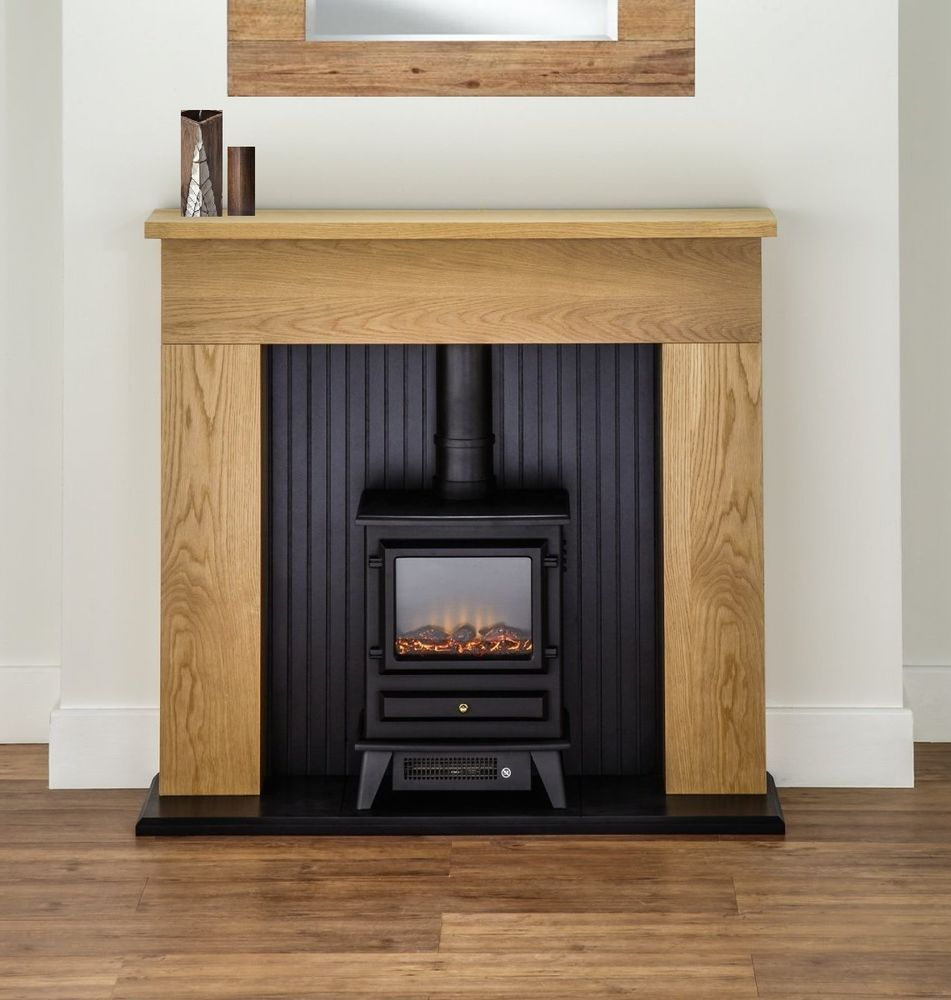 Oak Fireplace Black Electric Stove Fire Oak Surround Suite Freestanding Mantle Oak Fireplace Fireplace Suites Electric Fireplace Suites