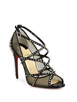 f7bdb6aa171b Christian Louboutin - Alarc Spiked Strappy Mesh Sandals