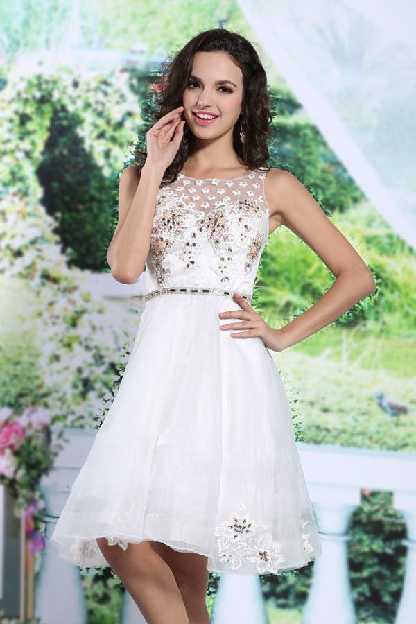 Petite robe blanche courte en organza à haut fleuri - Persun.fr dab9152ab2c
