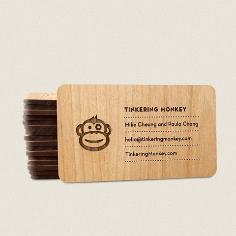 Tinkering monkey custom wooden products websites pinterest laser engraved wooden business cards by tinkering monkey colourmoves