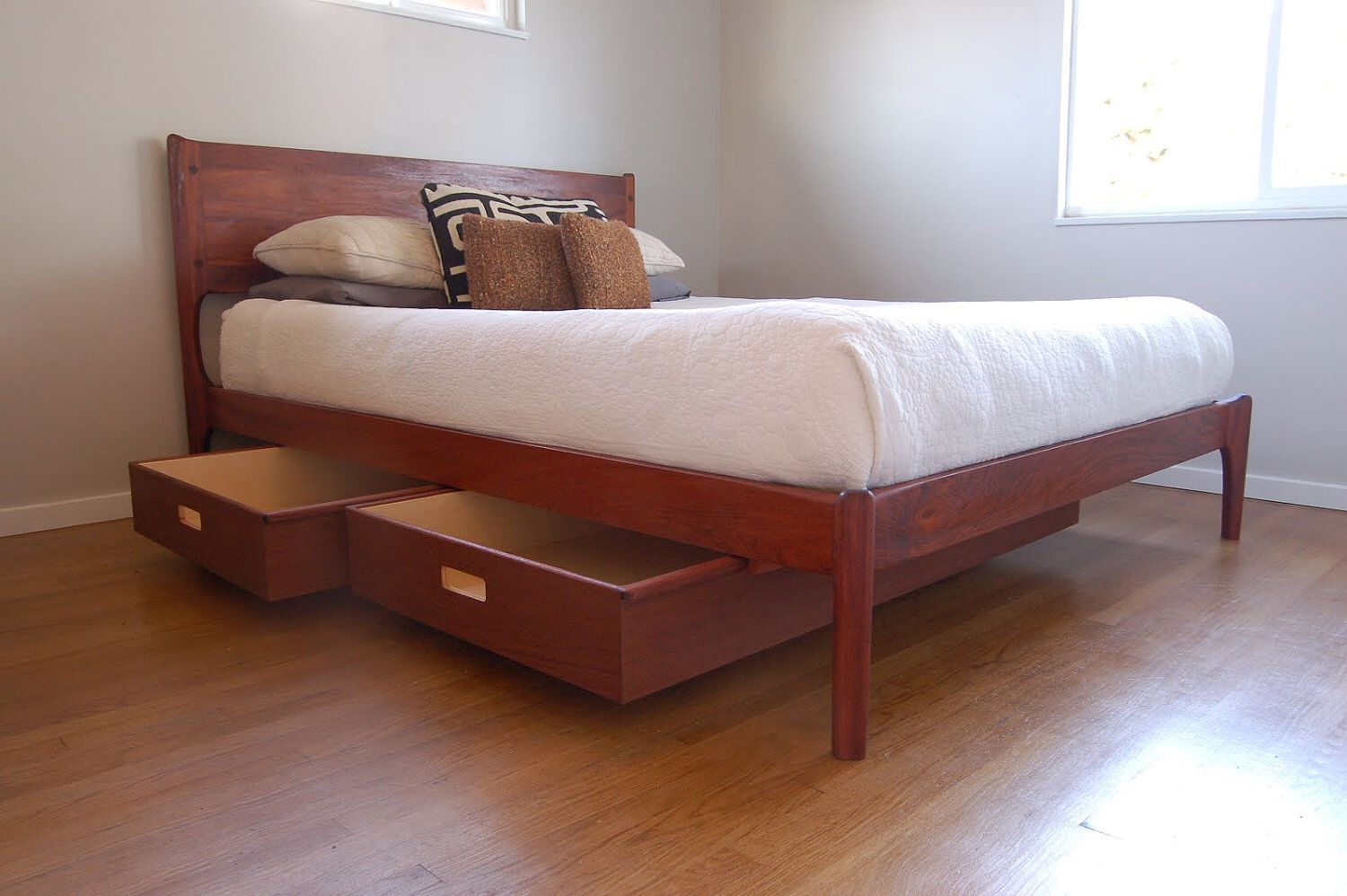 Classic Modern Bed With Storage Mid Century Danish Modern Style