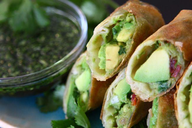 .avocado egg rolls + sweet cilantro dipping sauce.