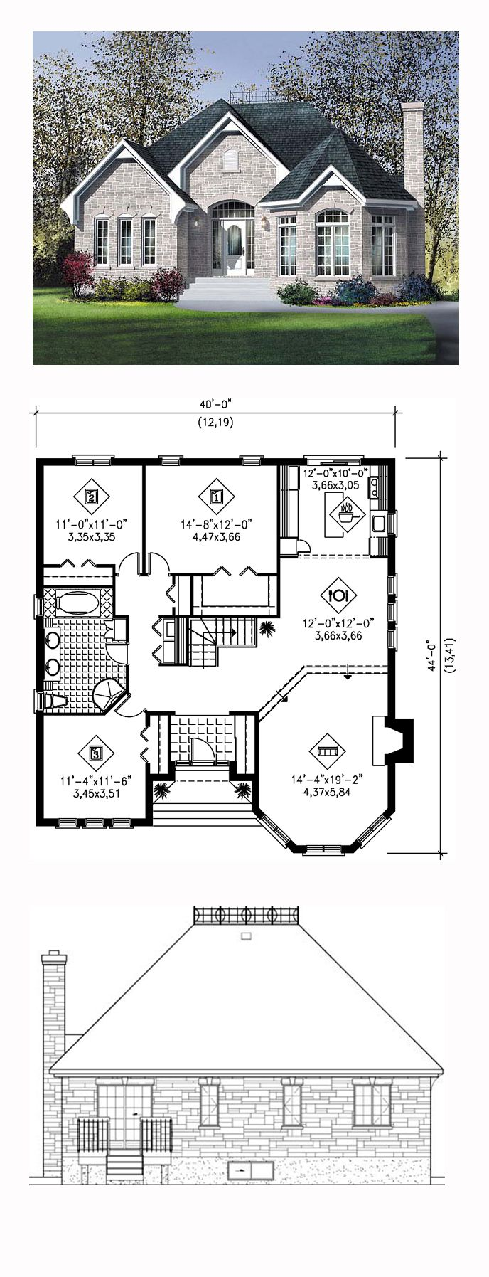 Narrow Lot One Story Victorian Style House Plan 49564 With 3 Bed