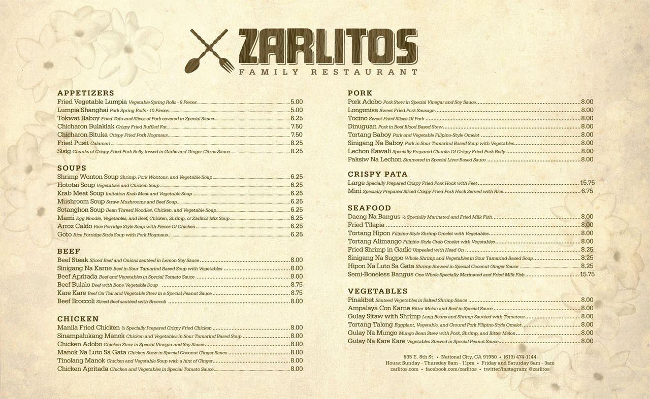 Zarlitos  New MenuLogo Design  By Somaramos Restaurant Menu