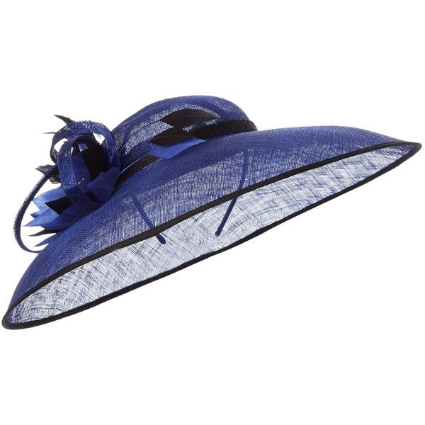 Linea Joy Flower Mis Brim Hat ($70) ❤ liked on Polyvore featuring accessories, hats, cobalt, fascinator hats, brimmed hat, hair fascinators, flower hat and flower fascinator