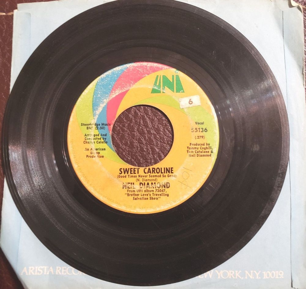 Universal Records Inc SWEET CAROLINE Neil Diamond Vinyl 45