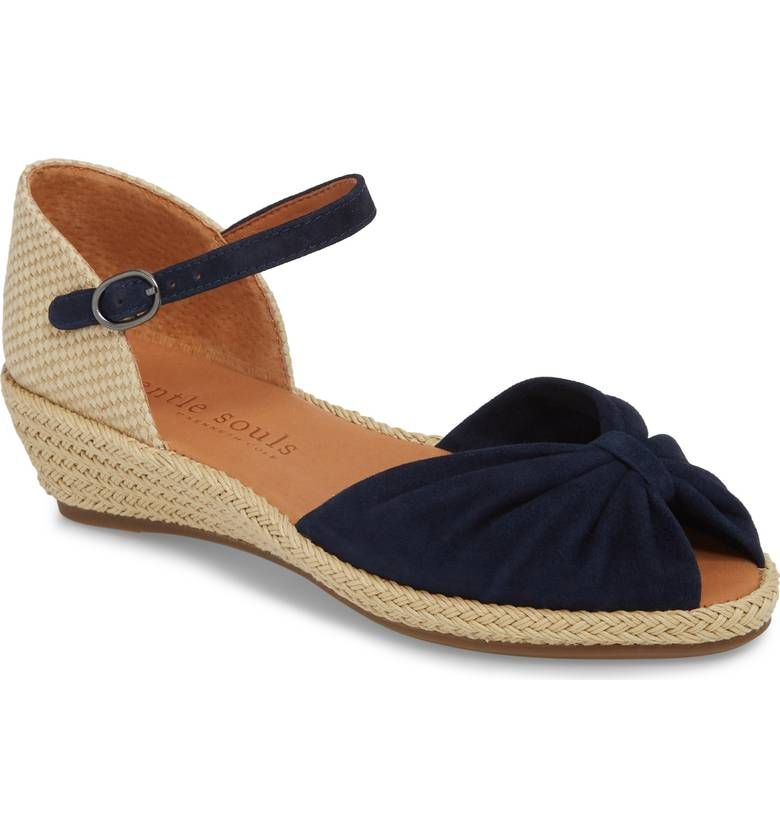 2b929e1f980 Gentle Souls, Lucille Espadrille Wedge Sandal in Navy Suede, $190 ...