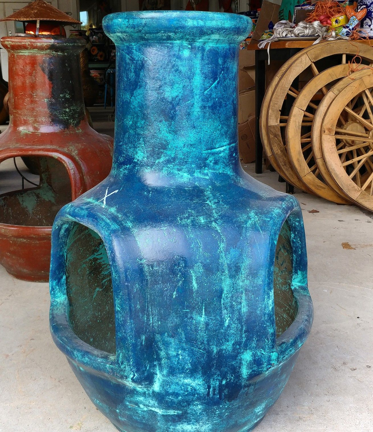 blue fatboy chiminea available at barrio antiguo 725 yale st houston