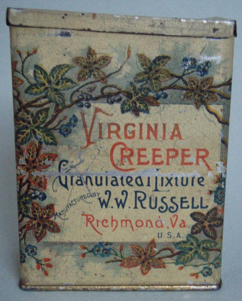 EXCELLENT 1890'S VIRGINIA CREEPER VERTICAL TOBACCO ADVERTISING TIN EXCELLENT