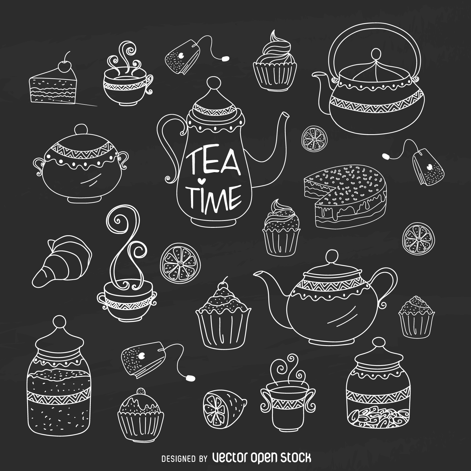 Chalk Hand Drawn Tea Time Kit Free Vector How To Draw Hands Tea Time Tea