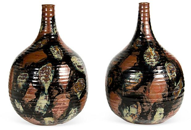Pair Of Ribbed Speckle Painted Glazed Vases Reproduction Of A 19th