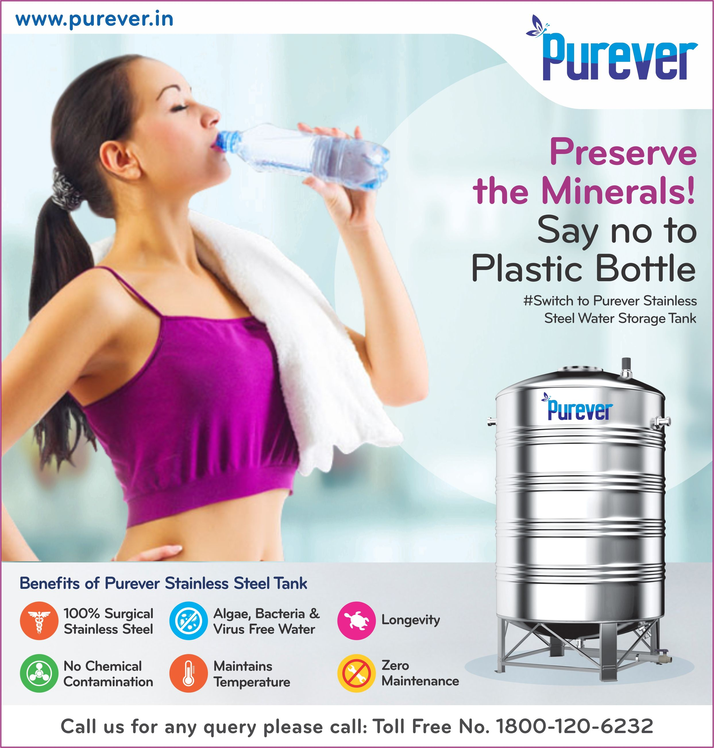 Preserve The Minerals Say No To Plastic Bottle Switch To Purever Water Tank Www Purever In Cal Steel Water Tanks Water Storage Tanks Stainless Steel Tanks