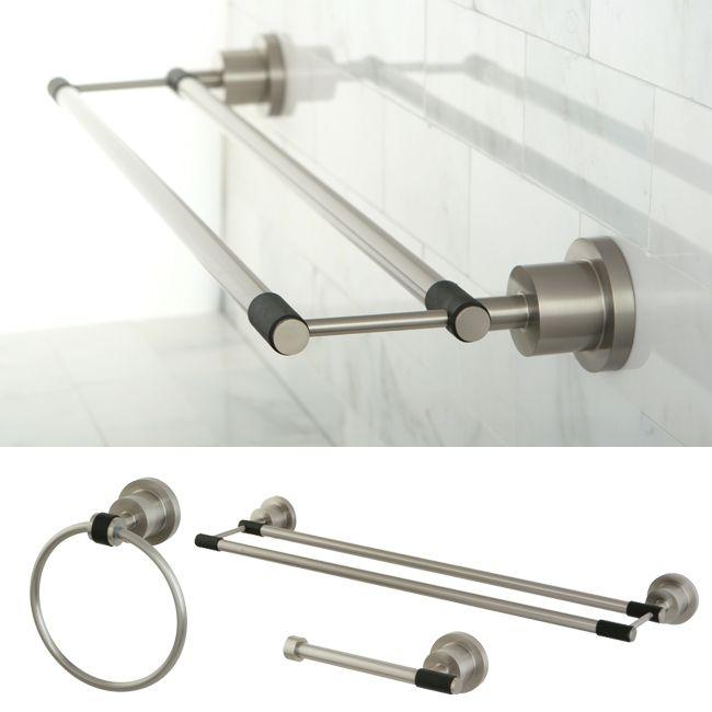Bathroom Towel Bar Sets. Satin Nickel 3 Piece Double Towel Bar Bathroom Accessory Set