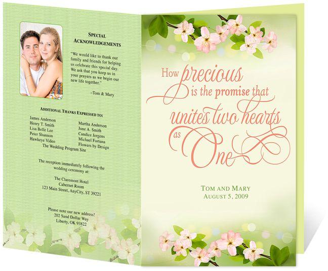 letter single fold cherry wedding program templates edits easily