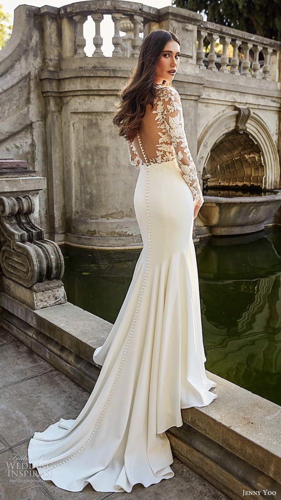 Jenny Yoo Collection Spring 2020 Wedding Dresses Wedding Inspirasi Form Fitting Wedding Dress Long Wedding Dresses Wedding Dress Sleeves [ 1600 x 900 Pixel ]
