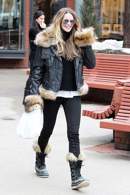 Elle Macpherson Wearing Women's Waterproof Snow Boots Sorel® Joan ...