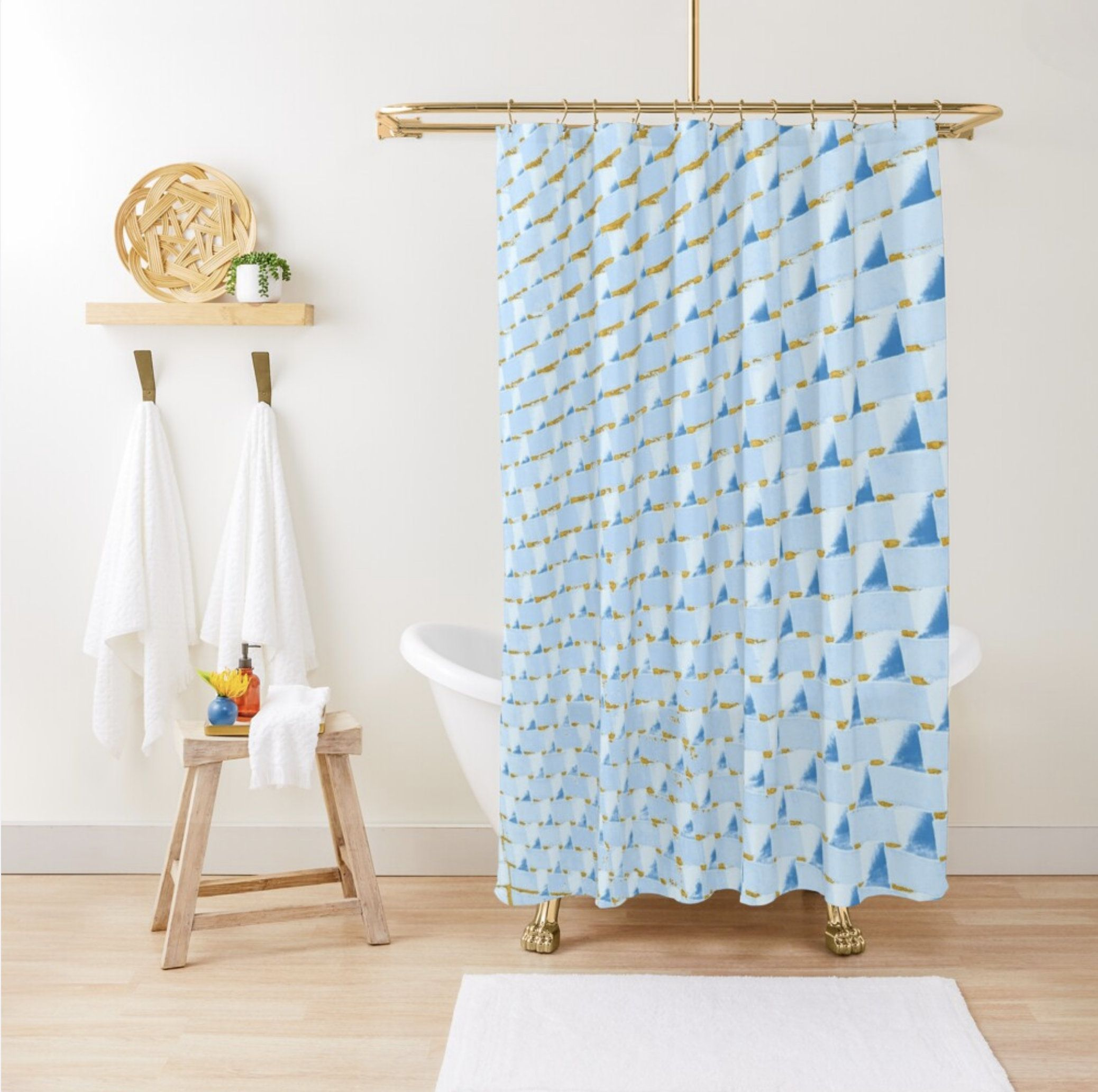 Geometric Abstract Shower Curtain Gold Light Blue Bathroom Decor