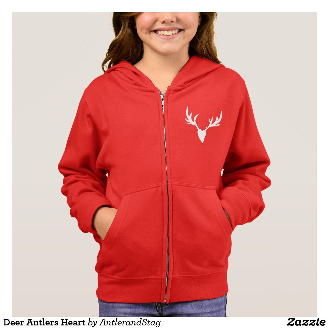 Girls hunting style zip up pullover hoodie featuring antler heart