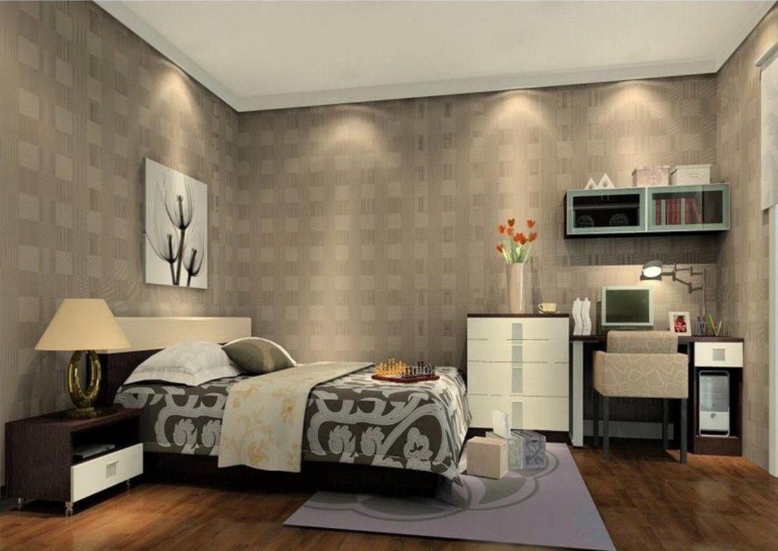 Light Gray Wallpaper In Elegant Bedroom Decoration (1108×785)