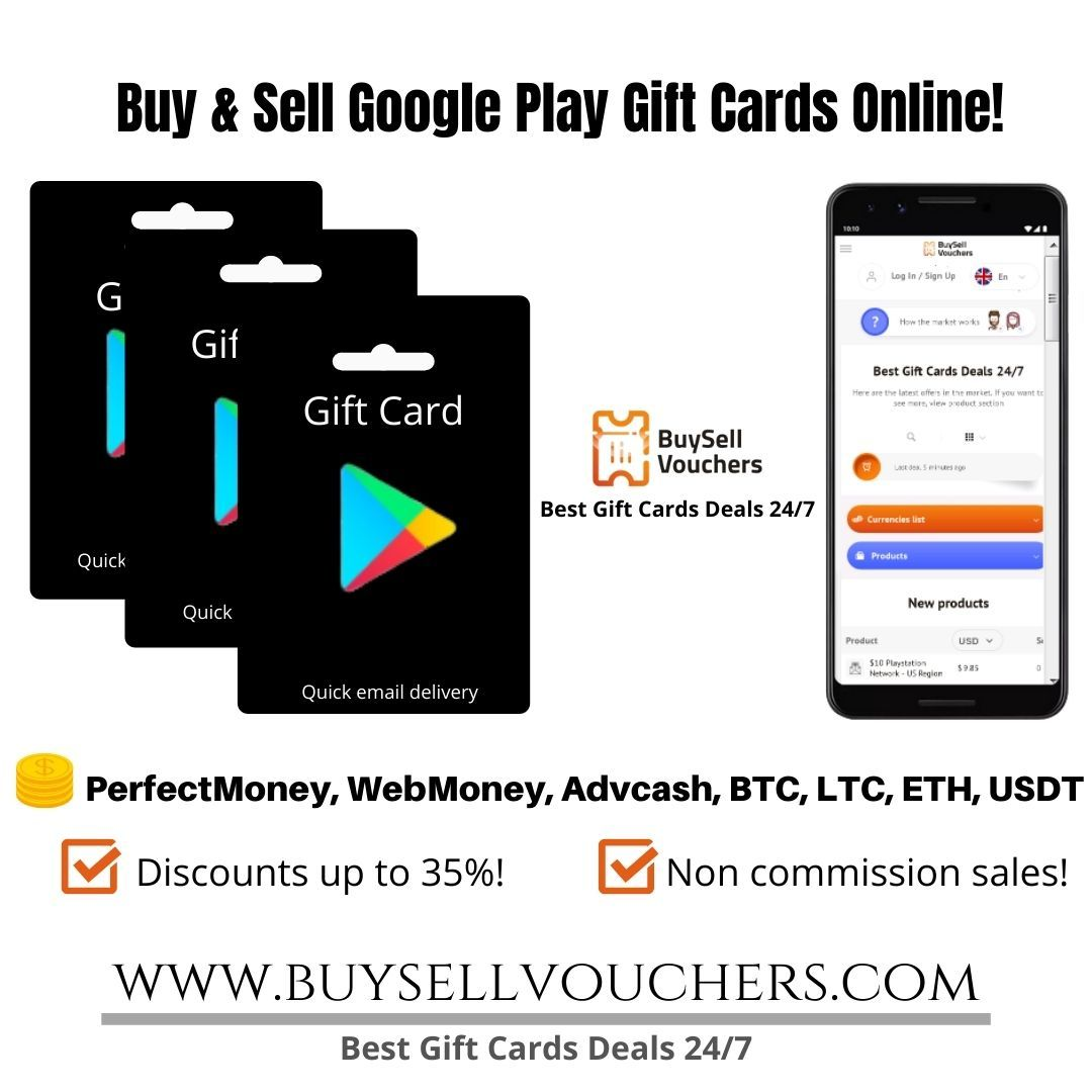 Buy And Sell Google Play Gift Cards For Perfectmoney Webmoney Advcash Google Play Gift Card Sell Gift Cards Best Gift Cards