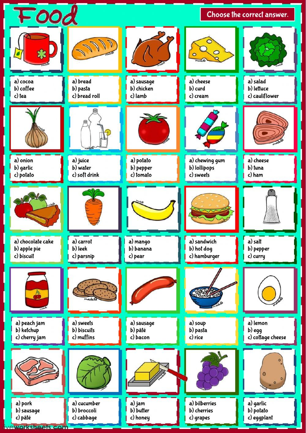 The food interactive and downloadable worksheet. You can do the ...