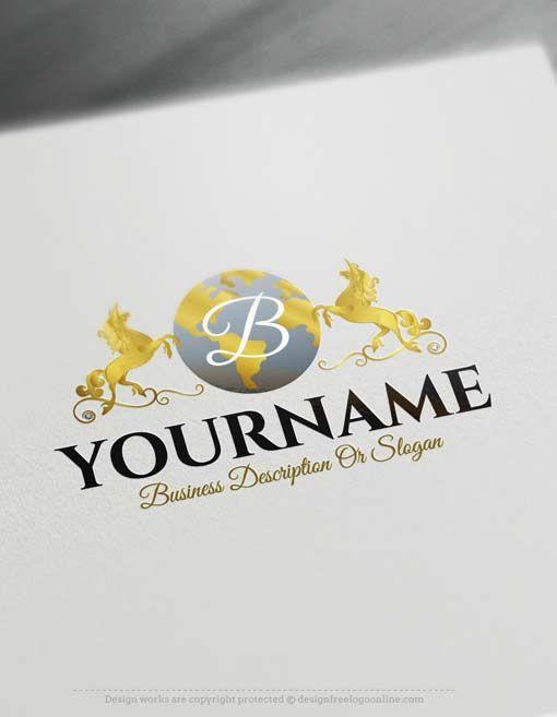 free logo maker online unicorn globe logo design free logo