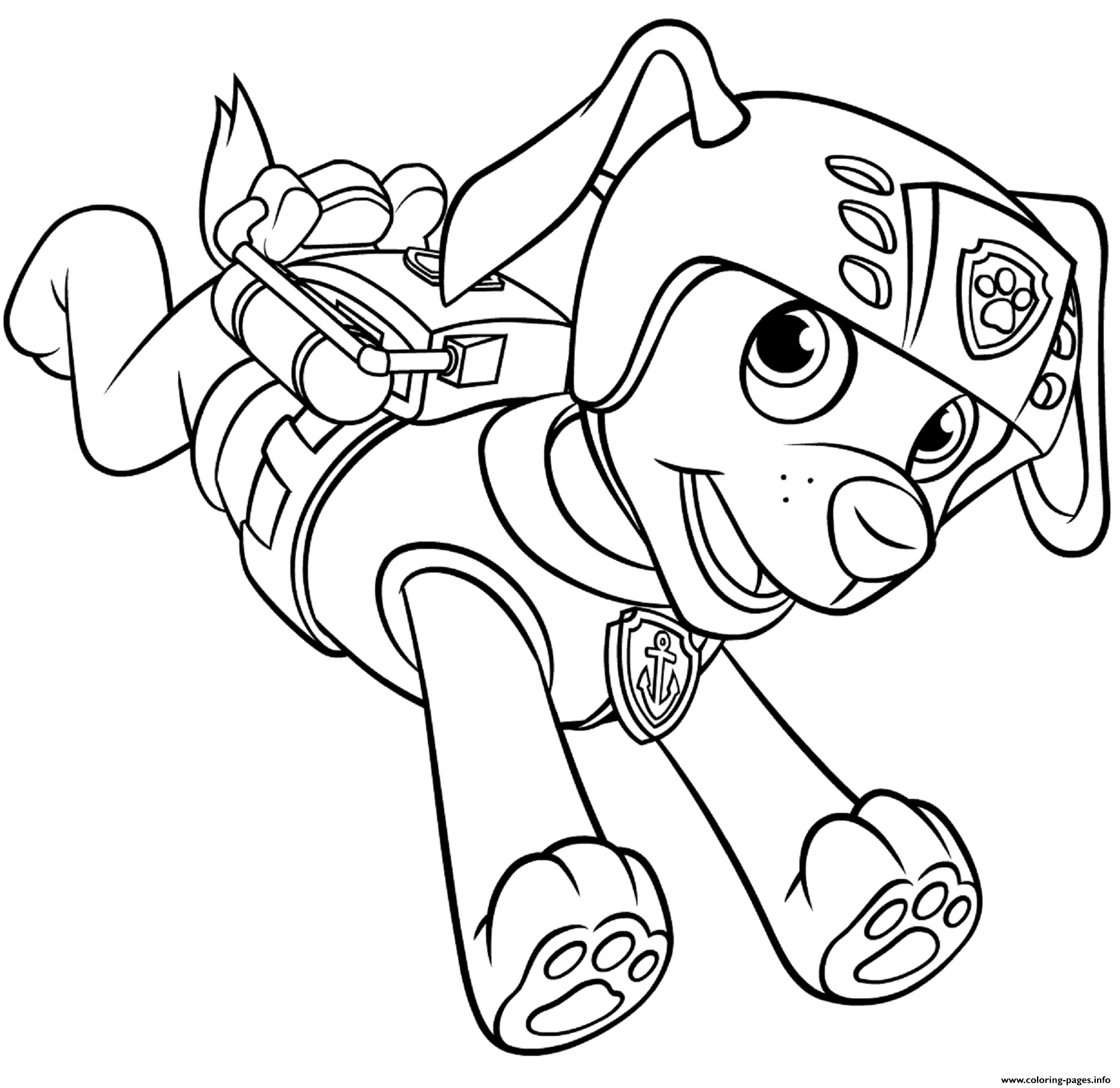 - Print Zuma With Scuba Gear Backpack Paw Patrol Coloring Pages