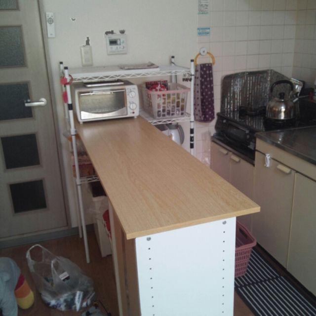 Roomclipに共有された カウンターdiy カラーボックス キッチン に関連する部屋のインテリア実例は 1 枚あります キッチン Diy 賃貸 カラーボックス キッチン 賃貸キッチン