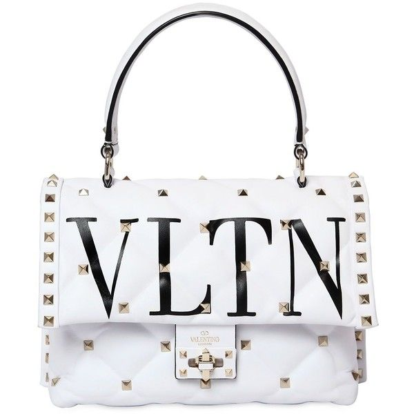 Valentino Women Vltn Candy Leather Top Handle Bag 2 995 Liked On Polyvore Featuring Bags Handbags Shoulder White Purses