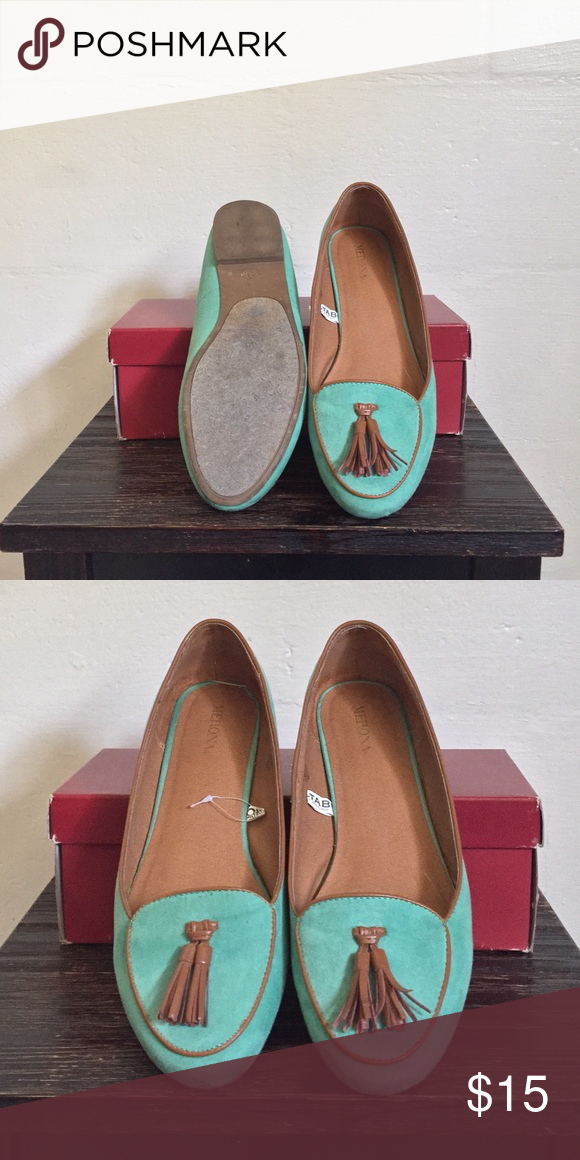 b900d877c03 Teal Suede Loafers Teal Moccasin like Loafers with Tassles. Worn once or  twice. Merona Shoes Flats   Loafers