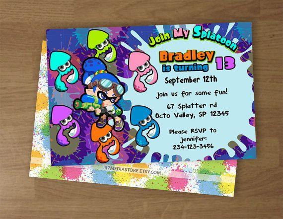 splatoon birthday party invitation digital by 57mediastore
