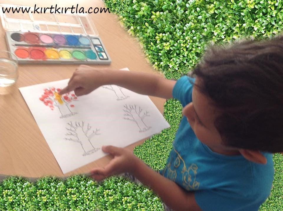 Mevsimler Ağaç Boyama Sayfası Parmak Baskisi