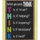 """This is a 8½ x 11 poster. This is an acrostic with the letters of the word """"think"""" about useless comments...."""