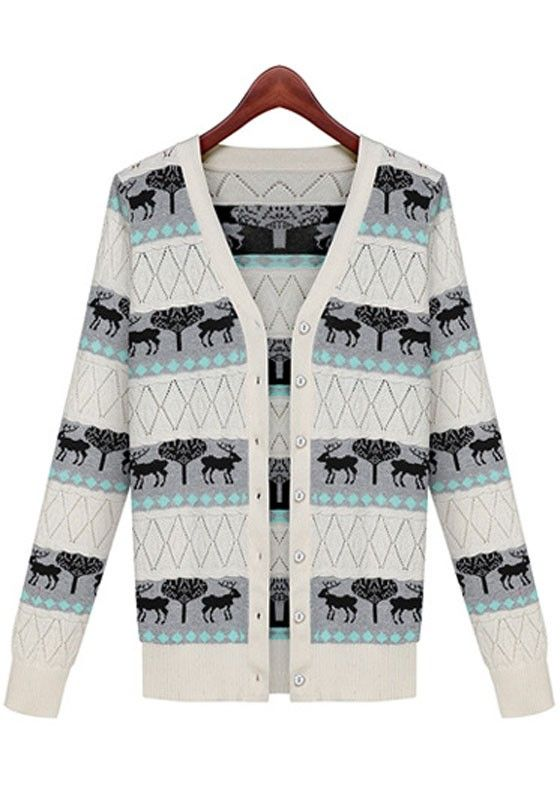 Grey Deer Print Single Breasted Cardigan