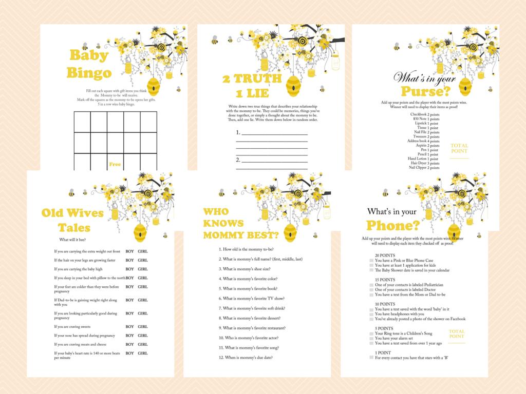 Printable, Bee Theme Printable Baby Shower Games, Bumble Bee Baby ...
