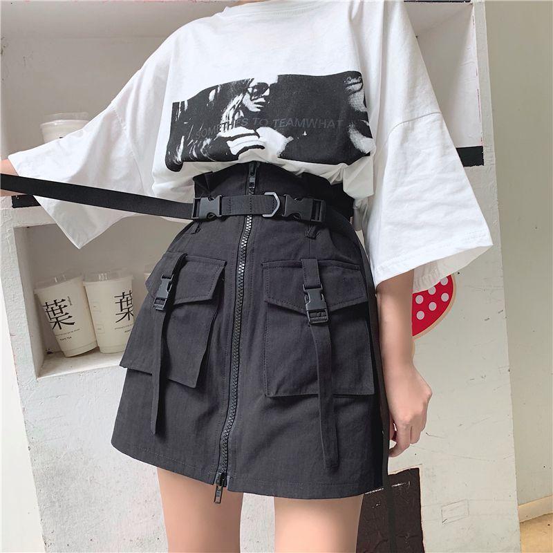 Quelle von mylightpjm #Belt #Harajuku # JKP3789 #Pocket #Skirt #Spring o  – Kızlar – Requisit
