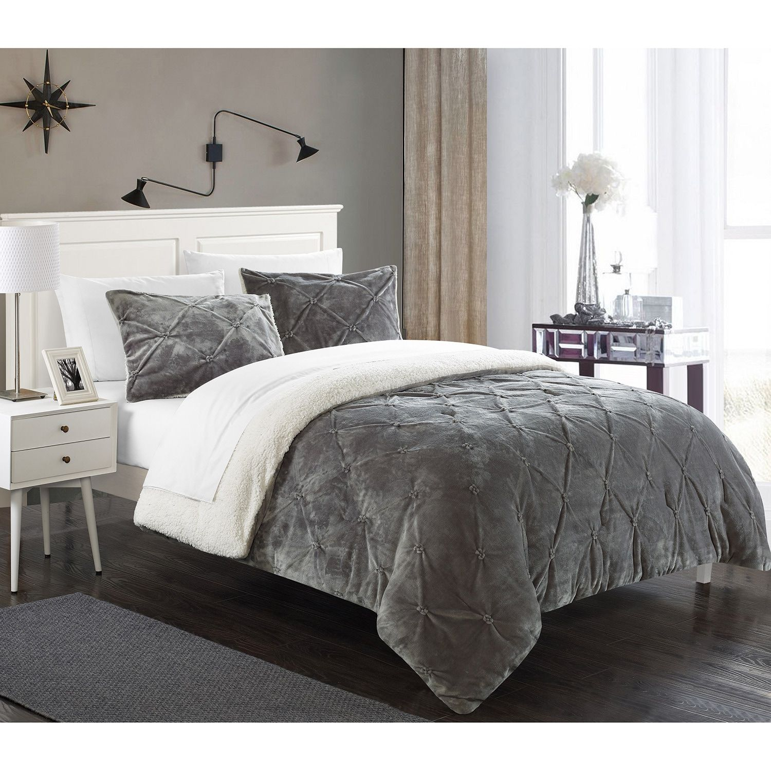 $122 Chiara Sherpa Lined Grey Microplush 7 piece Bed In a Bag