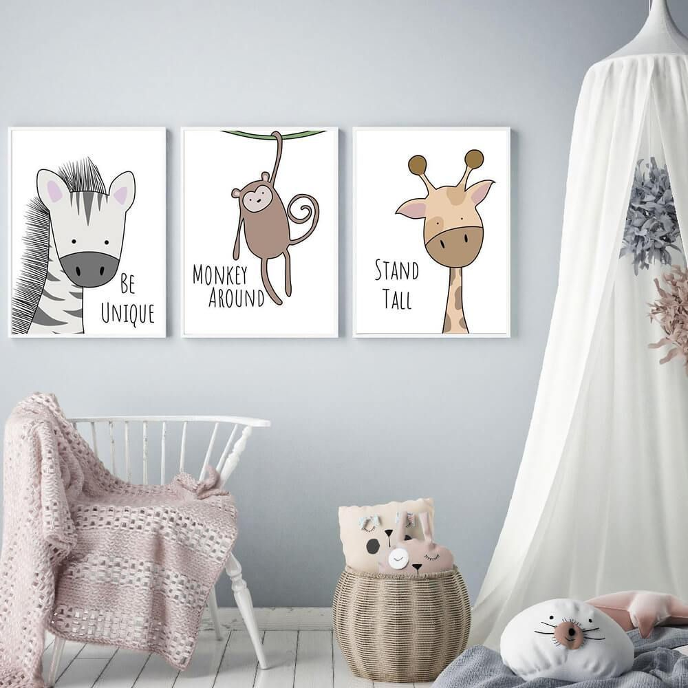 Be Brave Animal Wall Art Prints Animal Wall Art Nursery Canvas Art Kids Room Canvas Art