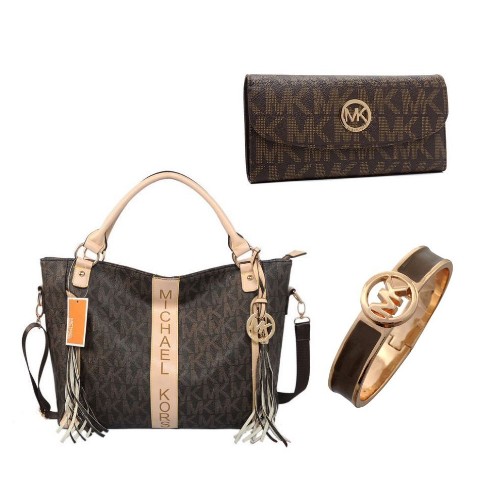 Michael Kors Signature Jet Set Large Backpack Book Bag PVC Leather Brown Gold #MichaelKors #BackpackStyle